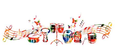 Fondo de los instrumentos de música. Tambor colorido, darbuka, bongo tambores, tabla india y tradicional tambor turco con notas de música aislados ilustración vectorial Foto de archivo - 77516226