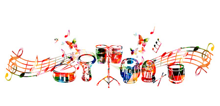 Music instruments background. Colorful drum, darbuka, bongo drums, indian tabla and traditional Turkish drum with music notes isolated vector illustration