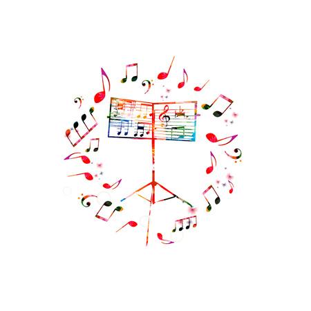 Muziekachtergrond met muziektribune. Kleurrijke muziekstandaard met muzieknota's geïsoleerde vectorillustratie