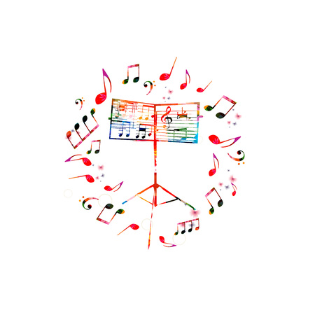 Music background with music stand. Colorful music stand with music notes isolated vector illustration