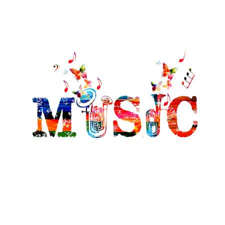 Napis muzyczny z instrumentami. Kolorowa dwoista dzwonkowa euphonium i euphonium odizolowywał wektorową ilustrację. Słowo muzyka Ilustracje wektorowe