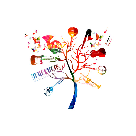 Music instruments background with tree. Colorful guitar, piano keyboard, french horn, saxophone, trumpet, violoncello, banjo, traditional Portuguese guitar and bouzouki Stock Vector - 78070261