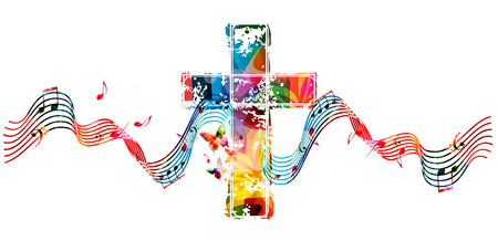 Colorful christian cross with stave and music notes isolated vector illustration