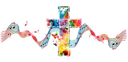 Kleurrijke christelijke kruis met spelling en muziek notities geïsoleerde vectorillustratie Stockfoto - 78070264
