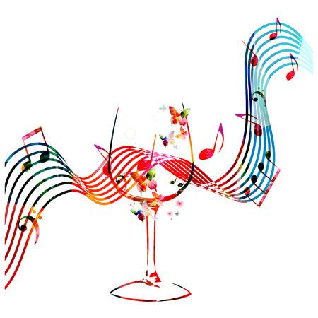 Kleurrijk wijnglas met muzieknota's geïsoleerde vectorillustratie. Achtergrond voor restaurantaffiche, restaurantmenu, muziekevenementen en festivals