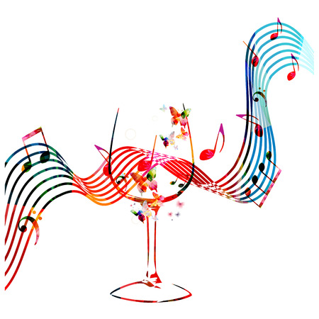 Colorful wineglass with music notes isolated vector illustration. Background for restaurant poster, restaurant menu, music events and festivals