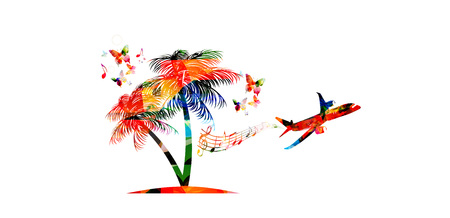 Summer travelling vector illustration with airplane isolated on white background