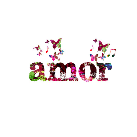 Amor calligraphy lettering isolated vector illustration Illustration
