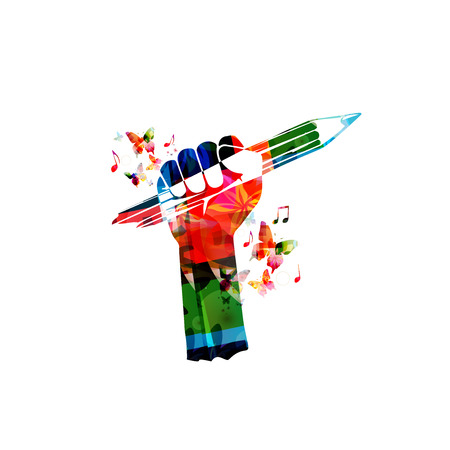hand pencil: Colorful hand with pencil vector illustration. Creative writing, education background