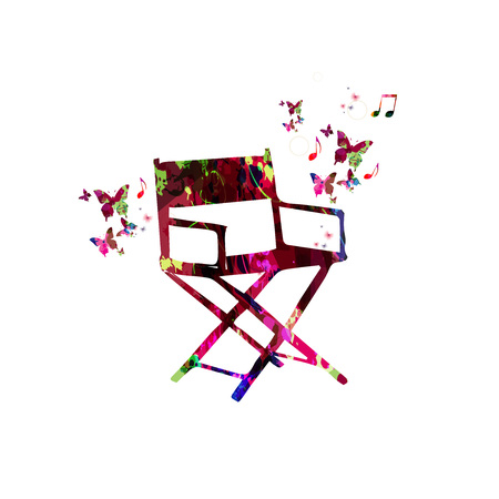 Colorful director chair with butterflies isolated vector illustration