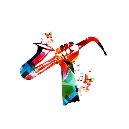 Music instrument background. Colorful human hand holding saxophone isolated vector illustration