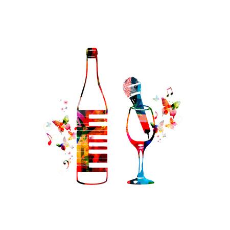 Kleurrijke fles met pianotoetsenbord en wijnglas met microfoon geïsoleerde vectorillustratie. Achtergrond voor restaurantaffiche, restaurantmenu, muziekevenementen, livemuziek, karaokeparty en festivals