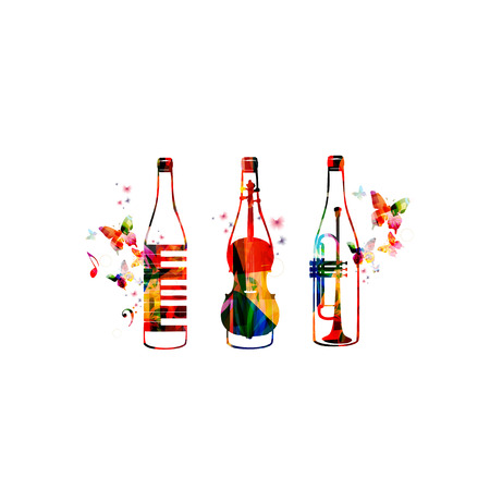 Colorful bottles with music instruments, piano keyboard, violoncello and trumpet isolated vector illustration. Background for restaurant poster, restaurant menu, music events, live music and festivals Illustration