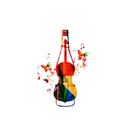 Colorful bottle with violoncello and music notes isolated vector illustration. Background for restaurant poster, restaurant menu, music events, live music and festivals
