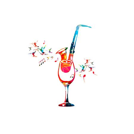 Bicchiere da vino colorato con sassofono e note musicali isolato illustrazione vettoriale. Sfondo per il ristorante poster, menu ristorante, eventi musicali, musica dal vivo e festival