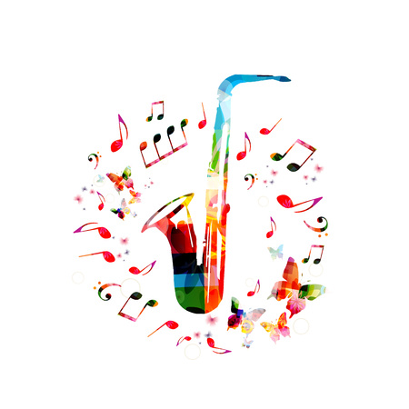 Music instrument background. Colorful saxophone with music notes isolated vector illustration Illustration