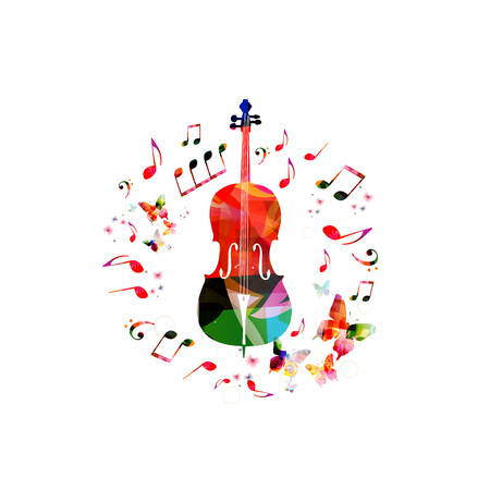 Music instrument background. Colorful violoncello with music notes isolated vector illustration