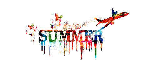 여름 여행 벡터 일러스트 레이 션. Word 여름 녹는 절연입니다. 여행, 휴가, 여행 및 여행 배경 일러스트
