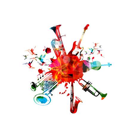 Cartaz de música com instrumentos musicais. Eufônio colorido, eufônio de sino duplo, saxofone, trompete, violoncelo e guitarra com design isolado de notas musicais Ilustración de vector