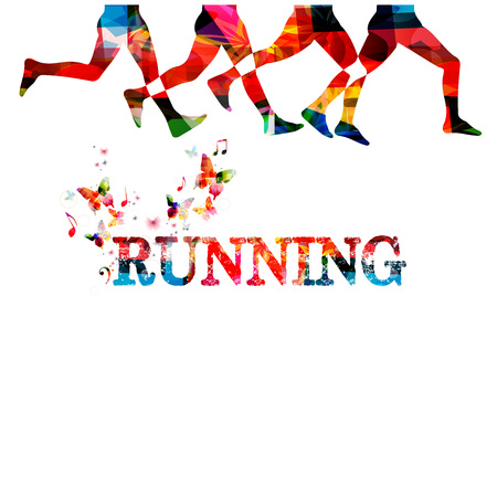 Running with people silhouettes isolated. Sports, fitness, running, jogging, active people, training, recreational activity, people exercise design 向量圖像