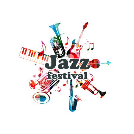 Poster musicale per il festival jazz con strumenti musicali. Euphonium colorato, tastiera a pianoforte, eufonium doppia campana, sassofono, tromba, violoncello e chitarra con note musicali design isolato Archivio Fotografico - 80451656