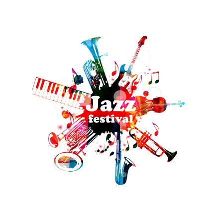 Poster musicale per il festival jazz con strumenti musicali. Euphonium colorato, tastiera a pianoforte, eufonium doppia campana, sassofono, tromba, violoncello e chitarra con note musicali design isolato Archivio Fotografico - 80451657