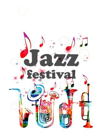 Musikplakat für Jazzfestival mit Musikinstrumenten. Bunte Euphonium, Doppel Glocke Euphonium, Saxophon und Trompete mit Musik Noten isoliert Design Standard-Bild - 80451659