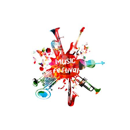 Musikplakat für Musikfestival mit Instrumenten. Bunte Euphonium, Doppelglocke Euphonium, Saxophon, Trompete, Violoncello und Gitarre mit Musik Noten isoliert Design