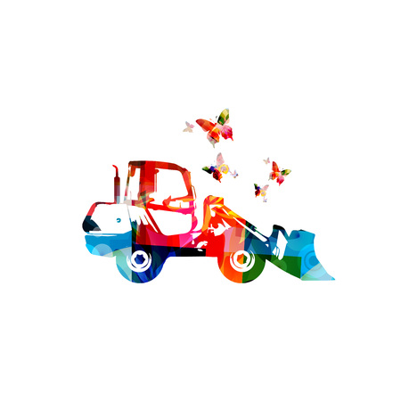 Colorful loader machine isolated vector illustration Illusztráció