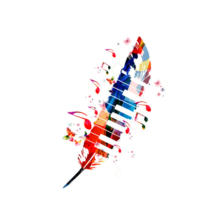 Music poster for composing. Colorful music notes with piano keys and feather isolated vector illustration design