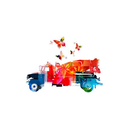 다채로운 콘크리트 믹서 트럭 기계 절연 벡터 일러스트 레이션