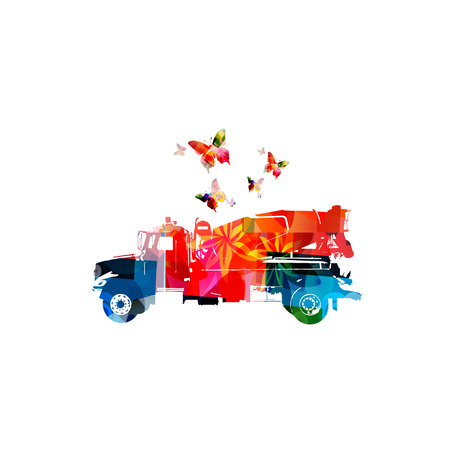 Colorful concrete mixer truck machine isolated vector illustration 向量圖像