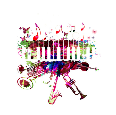 Music poster with music instruments. Colorful piano keyboard, double bell euphonium, saxophone, trumpet, violoncello and guitar with music notes isolated vector illustration design