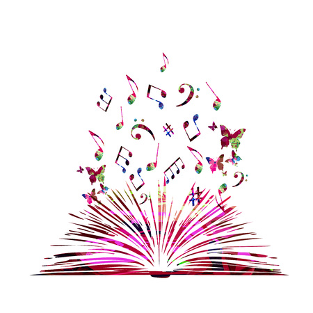 Colorful open book with music notes isolated vector illustration Stock Illustratie