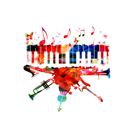 Music poster with music instruments. Colorful euphonium, piano keyboard, saxophone, trumpet, violoncello and guitar with music notes isolated vector illustration design