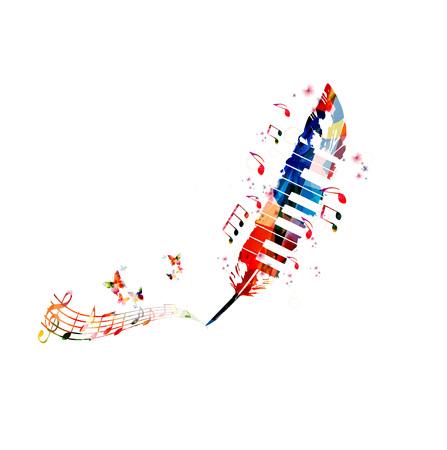 音楽ポスターを作成するため。ピアノの鍵盤と羽でカラフルな音符分離ベクトル イラスト デザイン 写真素材 - 81228067