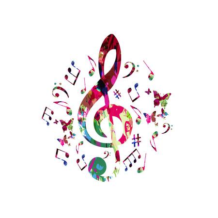音符と音楽ポスター。カラフルな音符ト音記号分離ベクトル図  イラスト・ベクター素材