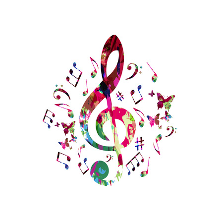 음악 노트와 음악 포스터입니다. 음악 노트 격리 된 벡터 일러스트와 함께 다채로운 G- 음자리표