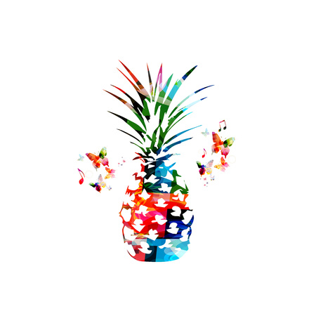 Colorful pineapple isolated vector illustration