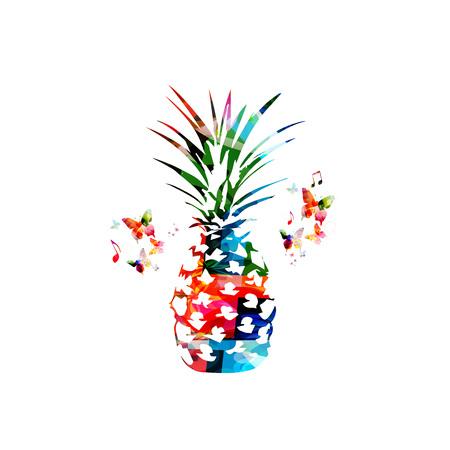 Kleurrijke ananas geïsoleerde vectorillustratie Stock Illustratie