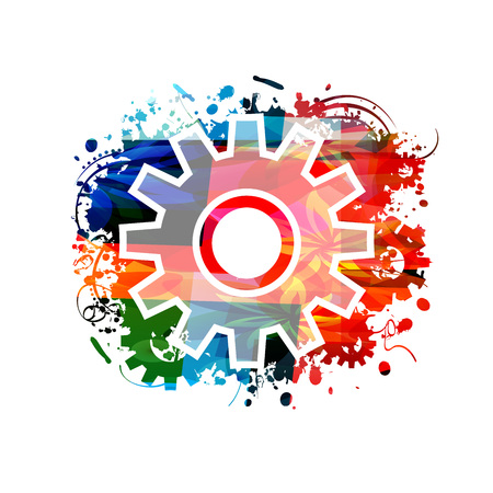 Colorful cogwheel isolated vector illustration Stock Vector - 82665708