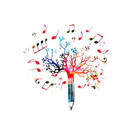 音楽鉛筆ツリー デザイン。音楽の音符の分離とカラフルな鉛筆ツリーのベクトル図