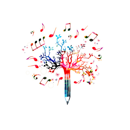Music pencil tree design. Colorful pencil tree vector illustration with music notes isolated Ilustrace