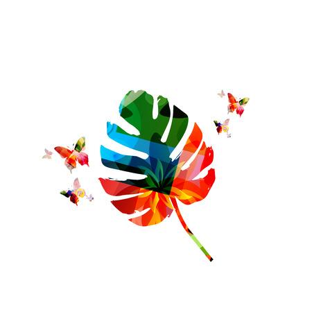 Monstera leaf isolated vector illustration. Tropical jungle monstera leaf pattern background Ilustração