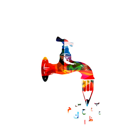 Creative writing design. Colorful water tap with pencil and arabic calligraphy symbols vector illustration. Storytelling, blogging, education, article, website content writing, copywriting  イラスト・ベクター素材