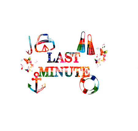 Last minute offer. Travel and tourism background. Last minute inscription isolated vector illustration