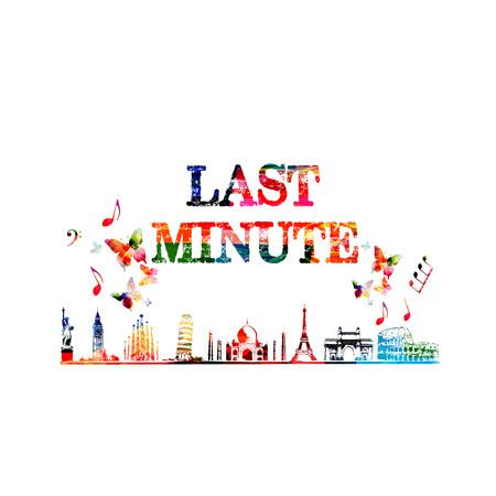 Last Minute Angebot Reise- und Tourismushintergrund. Berühmte Welt Wahrzeichen mit Last Minute Inschrift Vektor-Illustration. Welt Skyline isoliert Standard-Bild - 82665711