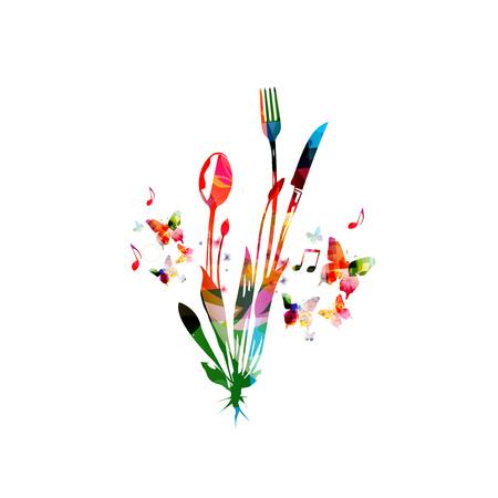 カトラリー セット、スプーン、フォーク、ナイフ、ベクトル図を分離しました。レストランのポスター、レストラン メニューのイベントのカラフル