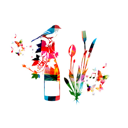Cutlery set, spoon, fork and knife with wine bottle isolated vector illustration. Colorful tableware design for restaurant poster, restaurant menu, wine tasting, events Illustration
