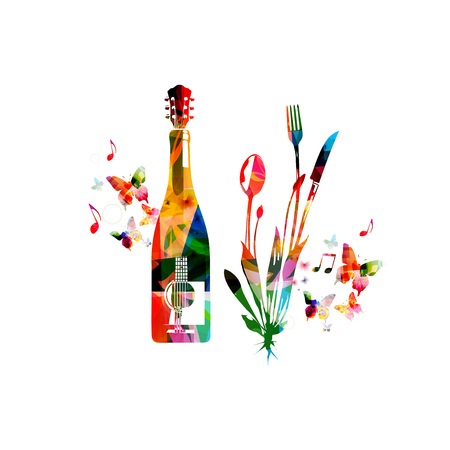 Cutlery set, spoon, fork and knife with wine bottle and guitar isolated vector illustration